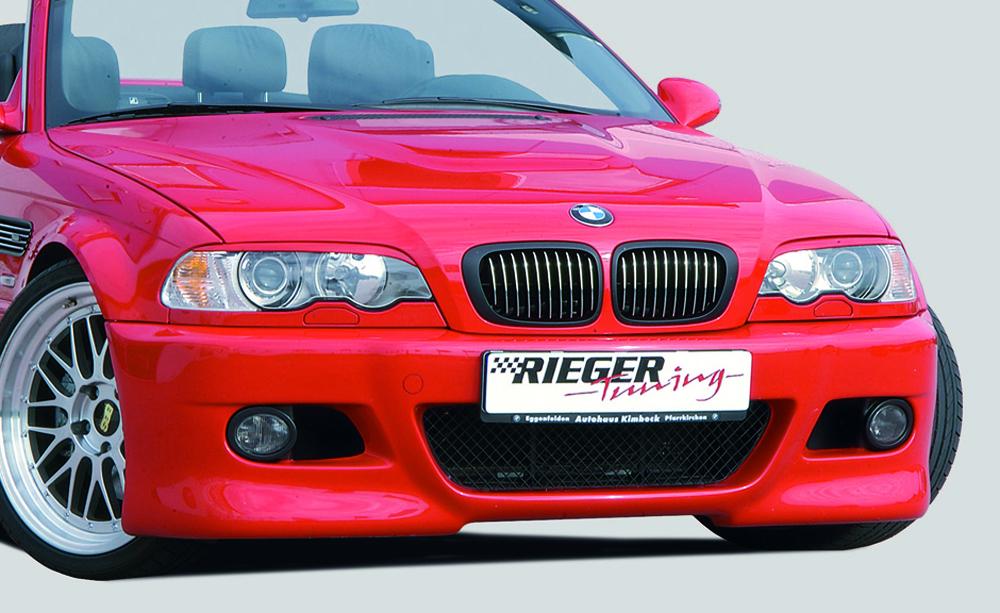 Spoilerstoßstange im M3-Look mit zusätzlichen Lüftungsöffnungen für Fahrzeuge bis Baujahr 2002 <p>inkl. Alugitter; zum Montage sind Bremsluftschächte (00112051/00112052), Radhausschalen (00112055/00112056), Luftführung (00112057/00112058) & Nebelscheinwerfer (00299143) notwendig!</p>