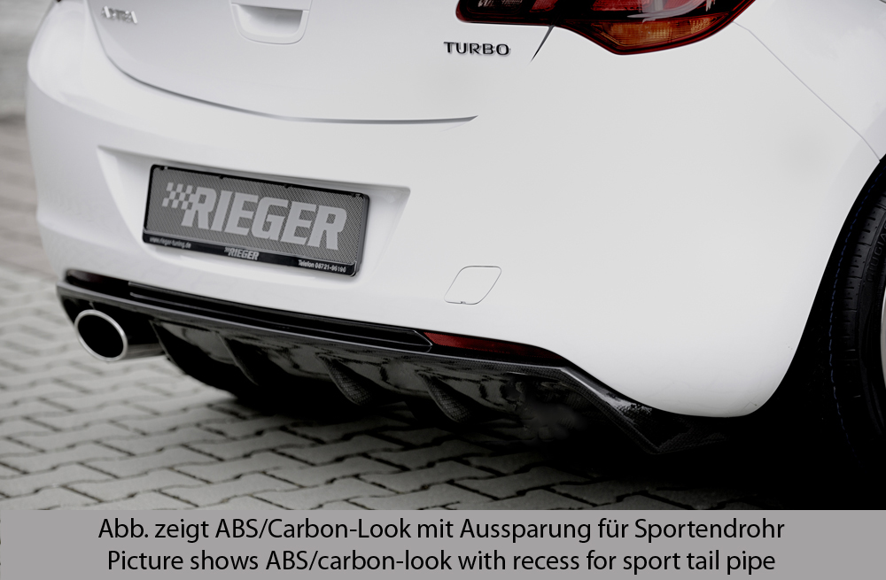 Astra J Rear Skirt Insert/Diffuser - ABS/Carbon [Image 2]