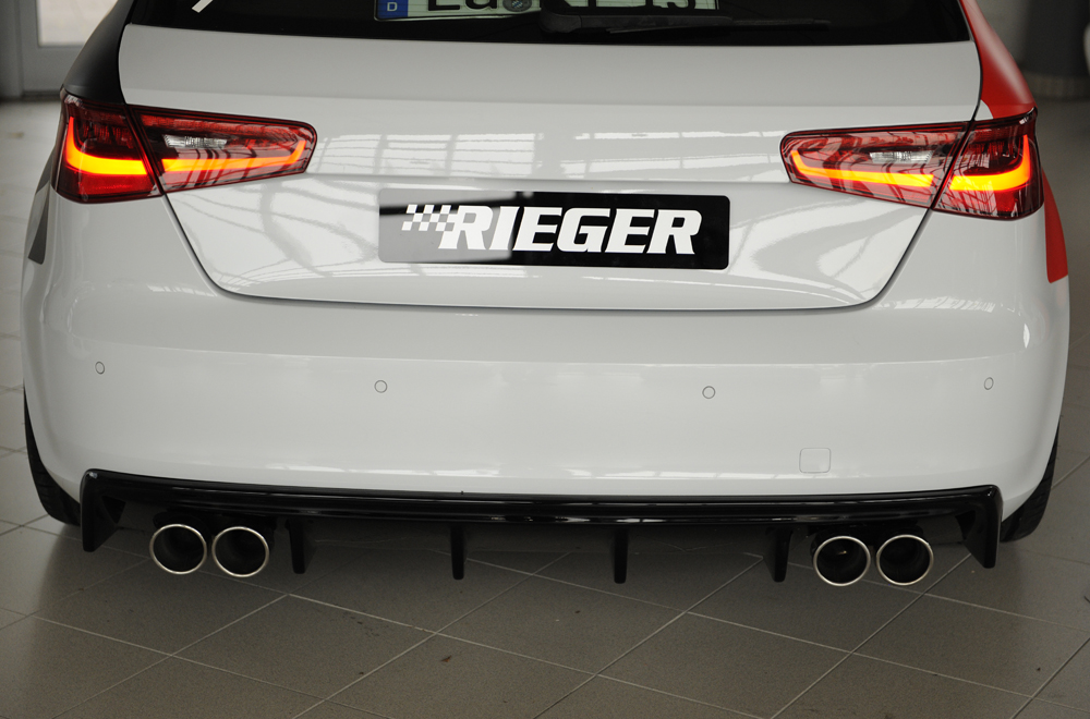 Audi A3: 8V (12-16) Rieger Rear Diffuser - Black ABS [Image 3]