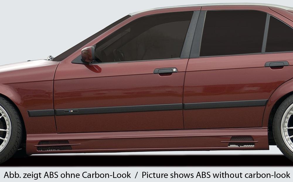 Seitenschweller links, mit Schacht und 2 Ausschnitten, ABS, Carbon-Look inkl. Alugitter, Gutachten, Montagezubehör
