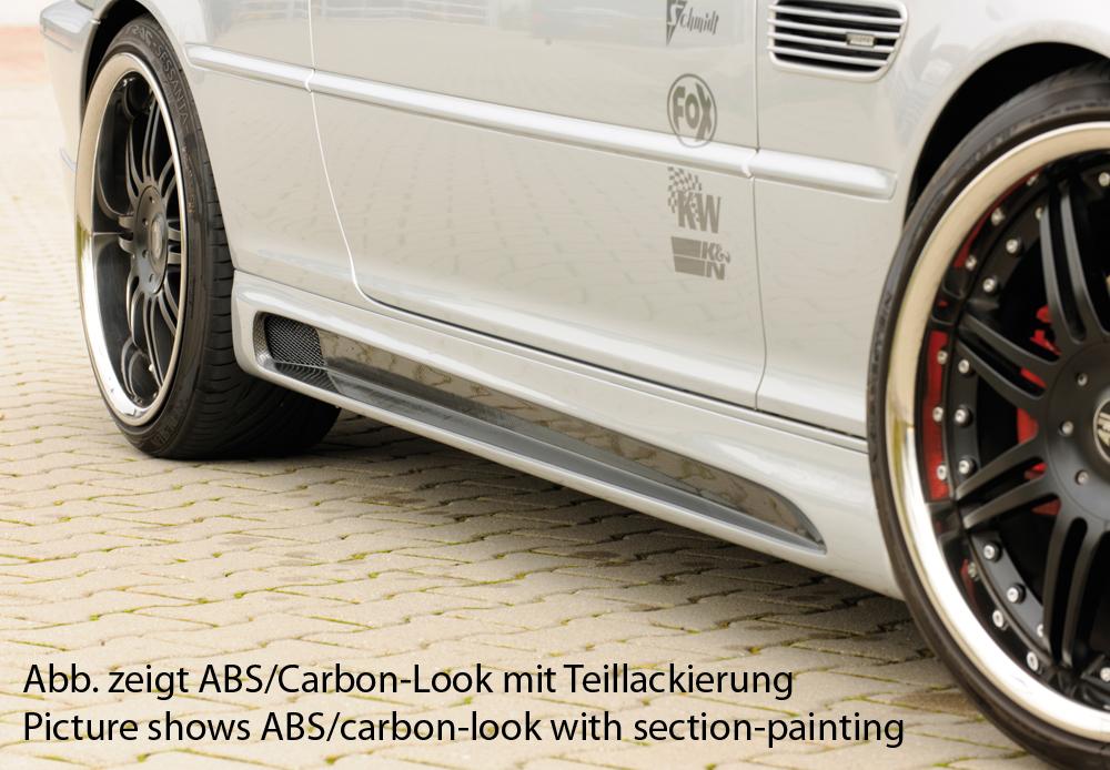 Seitenschweller links, mit Schacht, mit Ausschnitt, ABS, Carbon-Look, Alugitter, Montagezubehör