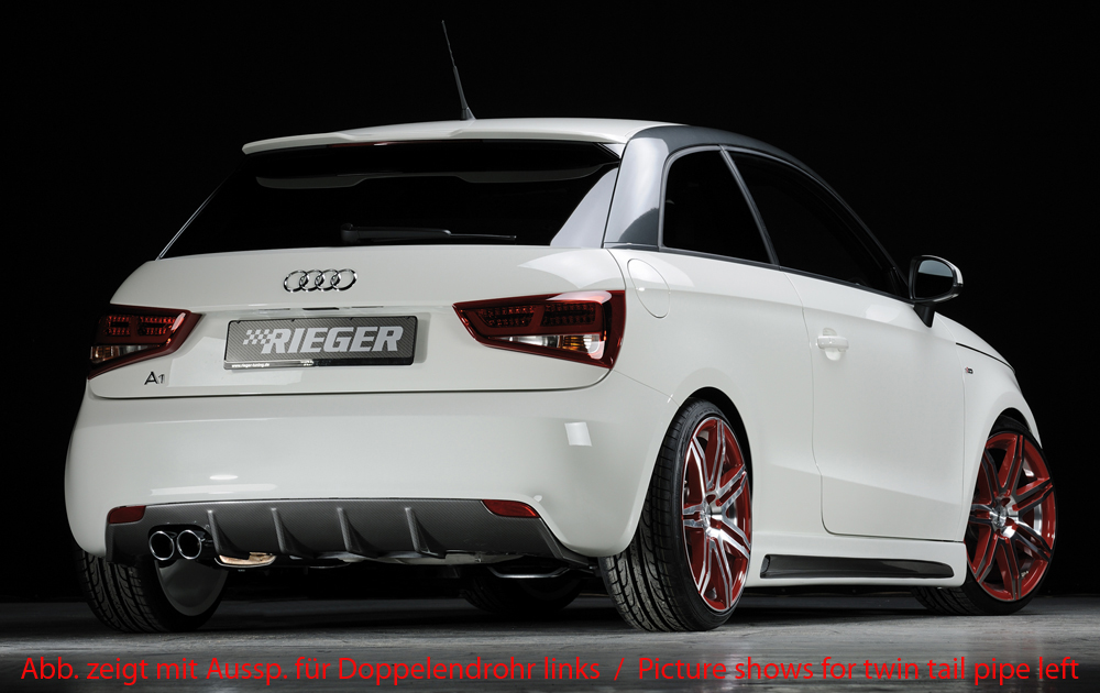 Audi A1 (10-14) 3 & 5 Dr Rear Bumper Diffuser - ABS/Carbon [Image 2]